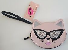 Betsey Johnson Cat Wristlet Pink Black Silver Sequin Luv Betsey NWT