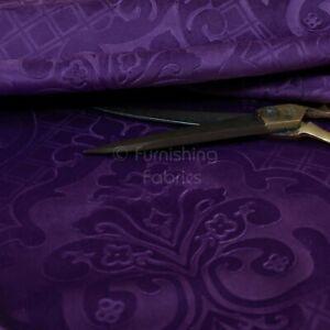 New Furnishing Embossed Damask Velvet Upholstery Fabric In Purple Colour