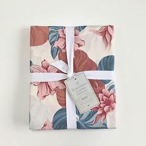 Pottery Barn Teen Roxy Sun Soaked Shower Curtain Floral summer Beach Blush Blue