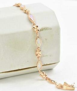 New with Tags Rose Pink Gold plate Sterling Silver Natural Opal Ladies Bracelet