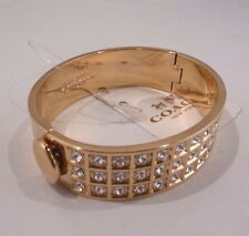 NWT Coach Swarovski Pave Crystal Gold Plated Hinged Bangle Bracelet 26495