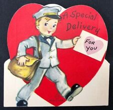 Vtg 40s 50s Valentines Card Special Delivery For You Mailman Us Mail Post Office