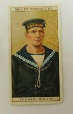 Cigarette Tobacco Card Wills Naval Dress & Badges 1909 # 50 Seaman RNVR
