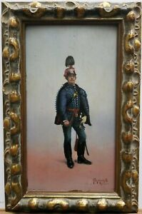 """Ferenc Toth Molnar (Hungarian1867-1936) Oil Painting """"Huszar"""" 10.5""""×6"""" Ca. 1893"""