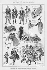 LONDON Scenes on New Years Eve 1903 - Antique Print 1904