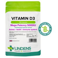 Vitamin D3 5000IU High Strength 150 Soft Gel Capsules, Immune Health Lindens