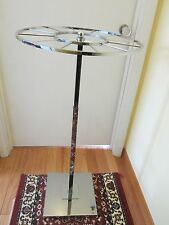 Mid Century Adjustable Rotating Chrome Clothing Commercial Display Stand Store