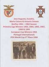 EUSEBIO AUGUSTO SIMOES & COLUNA BENFICA EURO CUP WINNERS 1962 ORIG AUTOGRAPHS