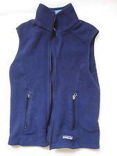 Vintage Patagonia Synchilla navy blue FLEECE VEST coat jacket brown womens XS