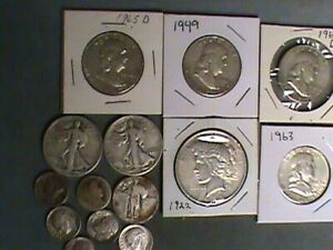 (14) 90% Silver Peace Dollar / Walking Lib. Kennedy Halves / Dimes 1900 to 1964
