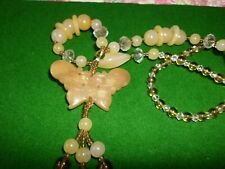 CARVED YELLOW JADE BUTTERFLY AND MIX GLASS ACRYLIC BEADS PRETTY NECKLACE