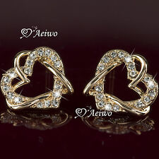 18K GF ROSE GOLD MADE WITH SWAROVSKI CRYSTAL HEART EARRINGS STUD