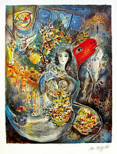 """MARC CHAGALL """"BELLA"""" Limited Edition Facsimile Signed & Numbered Lithograph Art"""