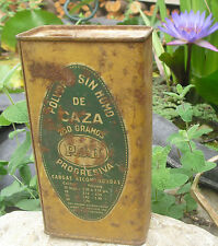 Antique Spanish Gunpowder tin. P.S.B. Gun powder can.