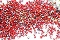 9/0  Antique Vene. Made In Italy Mixed Red & Amethyst White Heart Seed Beads/1oz