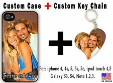 Custom iPhone 4 4s 5 5s 5c 6 iPod touch printed case With Personalized key chain