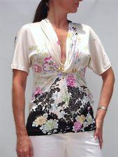 ROBERTO CAVALLI Ikebana Print Jersey Top Blouse 40 NWT