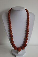 Collier Perles Style Bakélite Couleur Ambre foncé  Vintage Rétro Chic