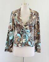 Vtg Joseph Ribkoff Womens Brown Blue Leaf Floral Print Blazer Jacket Size 8