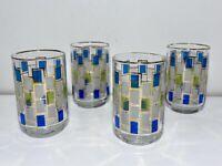 VTG Mid Century Libbey Nordic Tumblers Set Of 4 Green Blue Squares Glasses Bar