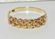 VINTAGE 9 CT YELLOW GOLD LADIES KEEPER RING - SIZE M