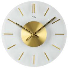 AMS 9319 Wanduhr Quarz analog golden rund aus Glas mit Messing Ø ca. 30 cm