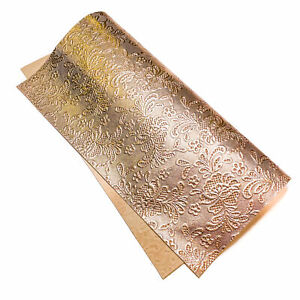 Rose Gold 12x12in/30x30cm Sheet Patent Leather // Embossed Flower Print Hides /