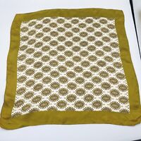 """Vintage 20"""" Art Deco Olive Green Gold Yellow Silk? Scarf"""