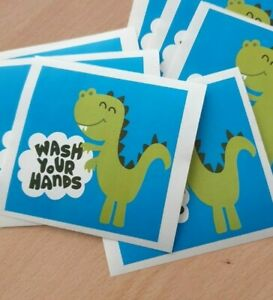 """Kids """"Wash Your Hands"""" Laptop, Lunch Box Sticker / Self adhesive / Polyester"""