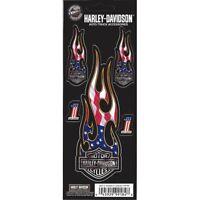 Harley-Davidson Logo Flames Decal American Flag Bar and Shield Set free shipping