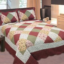 Fancy Linen Bedspread Coverlet Floral Patchwork Burgundy off White All Sizes California King