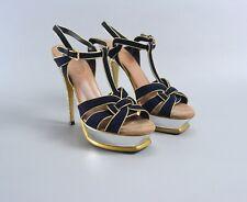 YVES SAINT LAURENT YSL Black/Gold Suede Tribute Platform Sandals Size 39 US9