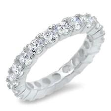 5.7 TCW Round 4 mm 925 CZ Stackable Eternity Bridal Wedding Band Ring Size 8