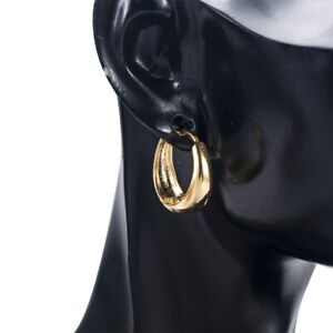 Women Hoops Smooth 24K Yellow Gold Filled Circle Hoop Earrings Ear Jewelry Gift