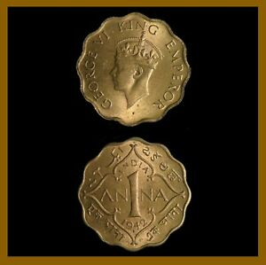 British India 1 Anna Coin, 1942 (B) Bombay KM# 537a King George VI (Unc)