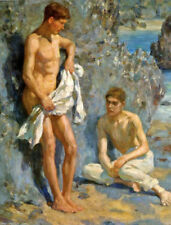 ZWPT709 two man portrait take a bath by the beach art oil painting on canvas