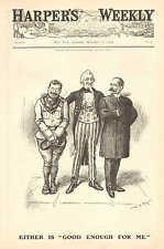 Political Cartoon, Teddy Roosevelt, Uncle Sam, Good Enough...1904 Vintage Print