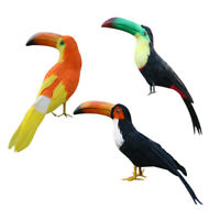 3pcs Artificial Toucan Bird Realistic Taxidermy Home Garden Decoration Toy