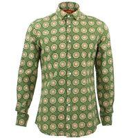 Mens Shirt Loud Originals TAILORED FIT Sun Green Retro Psychedelic Fancy
