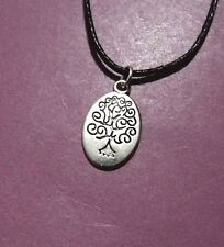 Oval Tree Of Life Antique Silver Pendant Adjustable Necklace