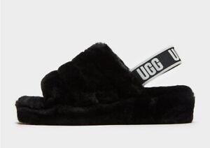 UGG Fluff Yeah Logo Slides Women's Comfort Footwear Black UK Size:6 BNWT