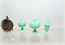 Dollhouse Miniature or Fairy Garden Jadeite Plastic Candy Dish Set