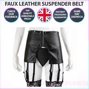 Womens Mens Sexy Faux Leather Suspender Belt Black Stockings Garter Skirt