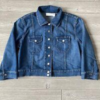 Chicos Chico's denim blue jean Trucker Jacket Womens Size 2 medium