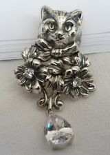 Necklace - 925 Sterling Silver -  Cats Pendant with chain Kitty Kitten NEW