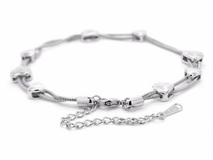 18CT Real white gold plated snake chain bracelet real white gold hearts gift box