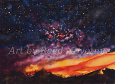 "Watercolor Painting Landscape ""Space Oddity ""by Reed Novotny 7.5X10.5"" Original"