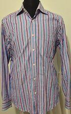 Bugatchi Uomo Long Sleeve Button Down purple stripe Mens Shirt Flip Cuffs sz L