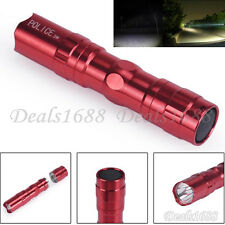 3W Super Bright Police LED Flashlight With Clip Clamp AA Focus Torch Light Red