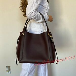 NWT COACH HARMONY GLOVETANNED LEATHER SUEDE OXBLOOD HOBO TOTE BAG 53352 $695